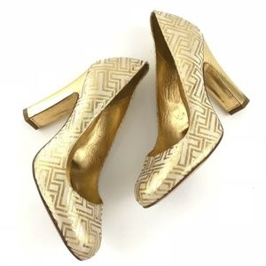 Tory Burch Colin Gold T Initial and Cream Heels